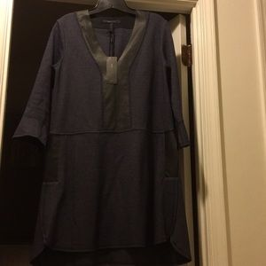 Ladies blue dress with faux leather trim
